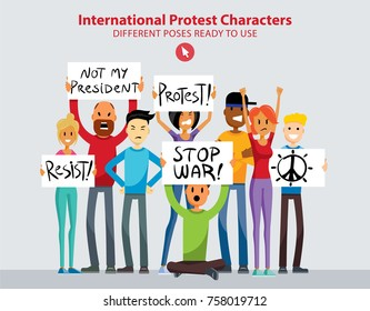 Set of Angry International Women and Men Protesters in Different Poses. Lady in Casual Clothes. Vector Art Characters Flat Style.