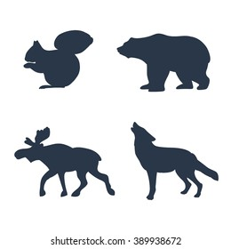 Set of animal. Animals living in european forest. Vector icon set of silhouette. Wolf, squirrel, bear, elk. Vector