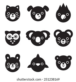 Set of animal and bird face silhouettes isolated on white for stickers, cards, labels and tags. Minimal style, includes cat, dog, mouse, rabbit, owl, dolphin, koala, parrot, bear.