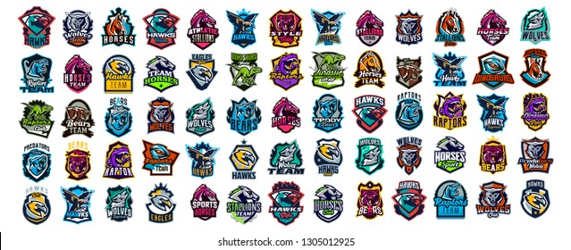 Set of animal emblems. Bear, dinosaur, eagle, leopard, wolf, horse, fox, lion, grizzly, raptor, hawk, jaguar, cat, lynx, leo, stallion, birds. Sports mascots, colorful collection, vector illustration