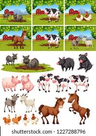 Set of animal at farm illustration
