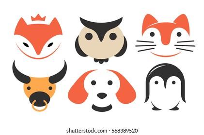 Set animal flat logo - vector illustration, emblem design on white background.