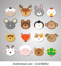 Set of animal heads. Artwork idea for baby products, badges, stickers, circle magnets.