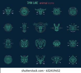 Set of animal icons. Abstract graphic design logo, badge, label, sticker. Vector stock illustration.