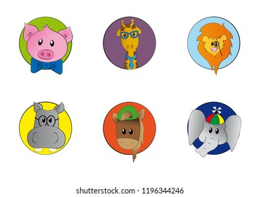 Set of animal illustrations: pig with papillon, giraffe with tie, lion with monocle, hippo with glasses, horse and elephant with hat.