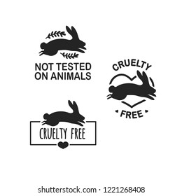 Set animal logo cruelty free. Sign with silhouette rabbit and flower and nature leaf. Design stapm for product not tested on animals. Layout Badge for natural cosmetic.  Vector symbol