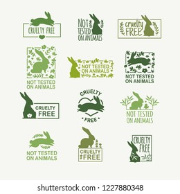 Set animal logo cruelty free. Sign with silhouette rabbit and flower and nature leaf. Design stapm for product not tested on animals. Green Layout Badge for natural cosmetic.  Vector symbol.