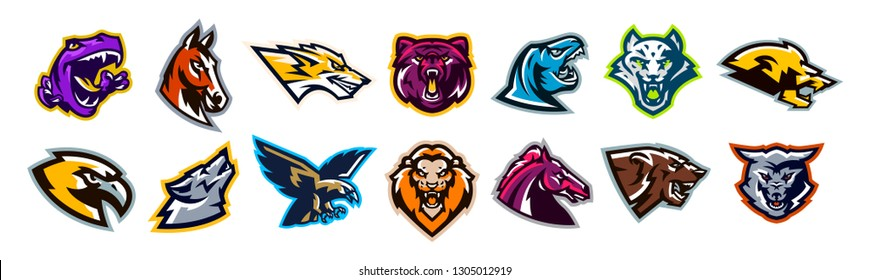 Set of animal logos. Bear, dinosaur, eagle, leopard, wolf, horse, fox, lion, grizzly, raptor, hawk, jaguar, cat, lynx, leo, stallion, birds. Sports mascots, colorful collection, vector illustration
