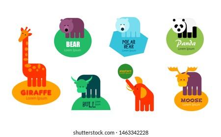 Set of animal logos - giraffe, bear, polar bear, panda bear, bull, elephant and moose. Editable logo template - icon and text, isolated, white background. Vector illustration