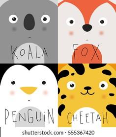 Conjunto de bozales de animales koala, zorro, pingüino, chita dibujando en tierno estilo de caricatura