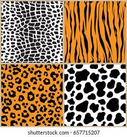 set animal pattern texture giraffe cow leopard tiger stripe repeated seamless orange white black jungle safari print
