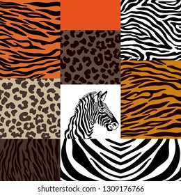 Set of animal prints. Geometric collage with patchwork elements. Zebra head, leopard spots, tiger stripes. Ethnic design collection.