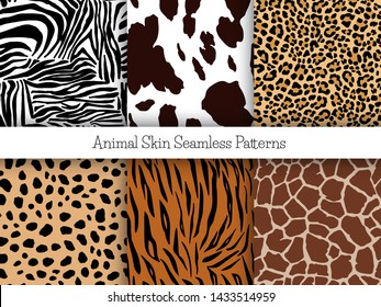 Set of animal seamless prints. Vector illustration. Zebra, cow, leopard, cheetah, tiger and girafe patterns collection in different colors in flat style.