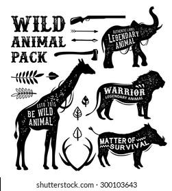 Set animal silhouettes labels & badges. Retro vector design graphic element, emblem, logo, insignia, sign, identity, logotype, poster.