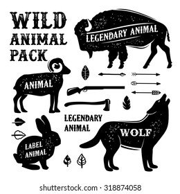Set animal silhouettes labels & badges. Retro vector design graphic element, emblem, logo, insignia, sign, identity, logotype, poster.