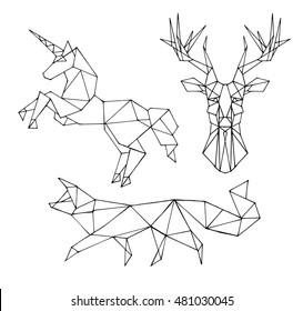Set animal vector on a black background. Fox, unicorn, deer object isolated illustration. Doodle geometric style. Cloth design, icon, logo, poster, textile, card, invitation,holiday. Magic art. Eps10.