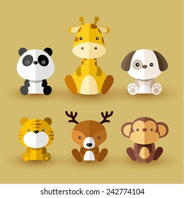 Set of animal vectors : Yellow Set