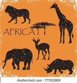 set of animals Africa,elephant, lion, giraffe, roe deer, rhinoceros, grunge vector illustration
