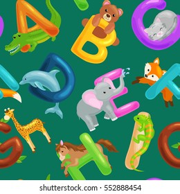 set of animals alphabet for kids fish letters, cartoon fun abc education in preschool, cute children zoo collection learning english language, seamless pattern vector illustration