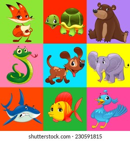 Set of animals with background. Cartoon and vector characters.