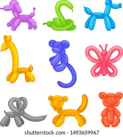 Set of animals from balloons. Vector illustration on a white background.