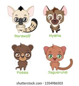 Set of animals belonging to the feliformia family