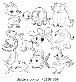 Set of animals in black and white. Cartoon and vector isolated characters.