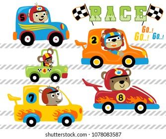 Set of animals car racing cartoon vector