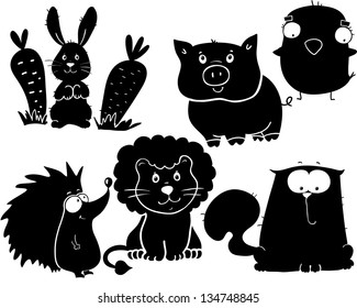 set of animals, cartoon stickers for wall or clothes