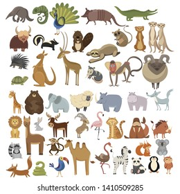 Set of animals. Collection of cartoon animals. Residents of the forest and the jungle. Vector illustration of animals for children. Zoo.