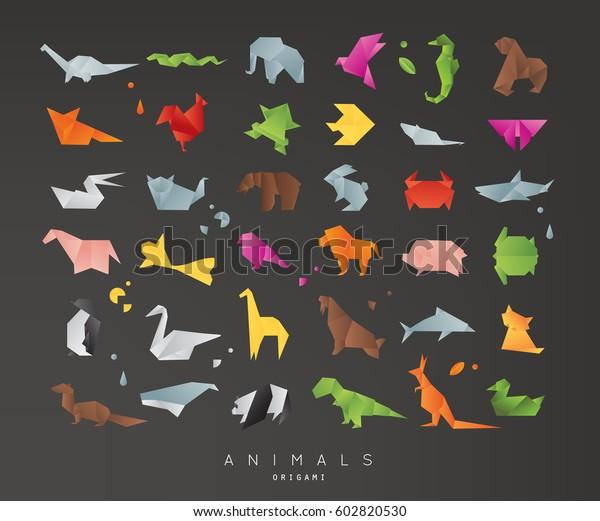 Set of animals color origami snake, elephant, bird, seahorse, frog, fox, mouse, butterfly, pelican, wolf, bear, rabbit, crab, penguin, giraffe, cat, panda, kangaroo on black background