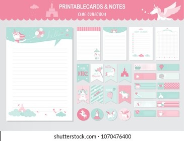 Set of animals and cute vector cards,unicorns,baby shower,printable,  tags,cards,templates,Notes, Stickers, Labels,Scrap booking, Congratulations, Invitations,Vector illustrations