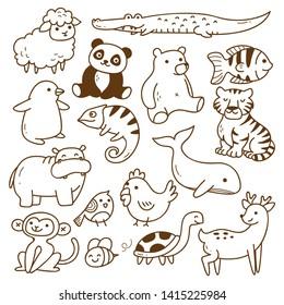Set of animals doodle isolated on white background