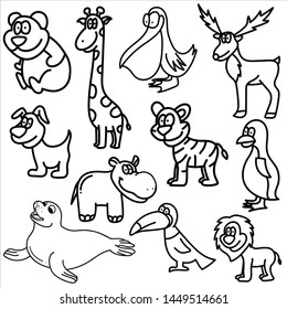 Set of animals doodle isolated on white background.Character wildlife pattern. Vector illustration.