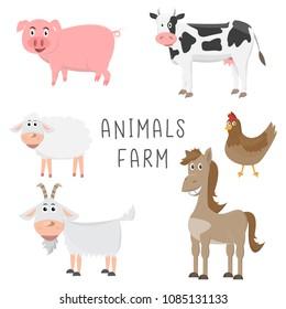 set of animals in the farm cartoon flat design. vector illustration,