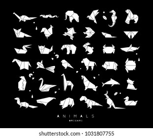 Set of animals in flat style origami snake, elephant, bird, seahorse, frog, fox, mouse, butterfly, pelican, wolf, bear, rabbit, crab monkey pig turtle kangaroo on black background