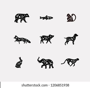 Set of animals floral graphic silhouettes bear, fish, monkey, fox, pig, dog, rabbit, elephant, cheetah drawing on dirty background