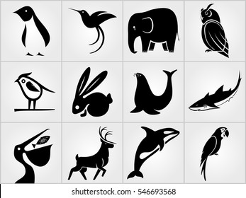 Set of Animals icons. Penguin, Bird, Pelican, Humming Bird, Rabbit, Deer, Elephant , Sea lion, Grampus, Owl, Shark and Parrot icons