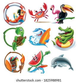 set of animals for illustrated summer decorations