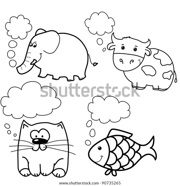 Set Animals Like Fish Cow Cat Stock Vector (Royalty Free) 90735265