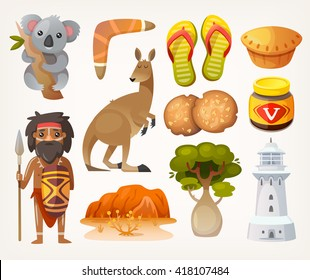 Set of animals, people, elements and items associated with australia
