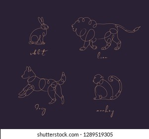Set of animals rabbit, lion, dog, monkey drawing in pen line style on dark background