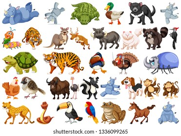 Set of animals sets illustration