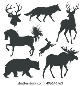 set with animals silhouettes. vector illustration