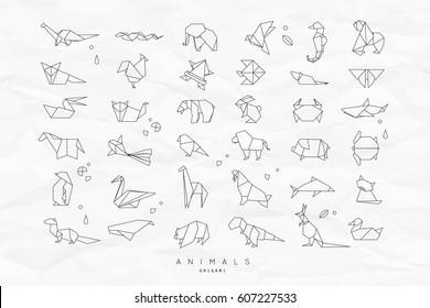 Set Of Animals White In Flat Style Origami Snake Elephant Bird Seahorse