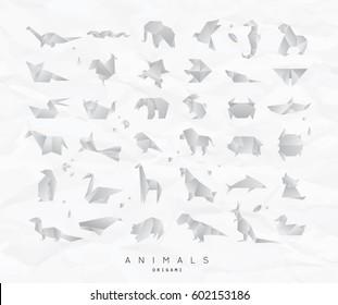 Set of animals white origami snake, elephant, bird, fox, butterfly, pelican, bear, crab, horse, fish, parrot, monkey, pig, turtle, penguin, giraffe, cat, panda, kangaroo on crumpled paper background
