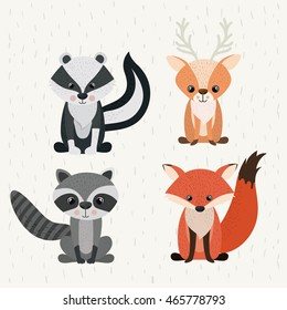 set animals woodland wildlife icon vector isolated graphic