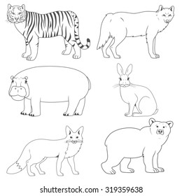 set of animals,wild predators and herbivores