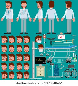 Set for animation. Doctor of Medicine and various medical equipment. Vector illustration, flat design style.