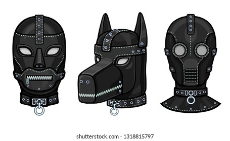 Set of animation leather masks for adults. Template for erotic content. Vector illustration isolated on a white background. Print, poster, t-shirt, card, emblem.